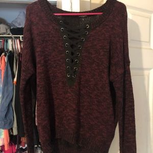 Lace up express sweater